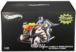 112 Hot Wheels Elite Batman Batcycle Classic Tv Series Cmc85