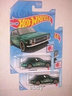 2 HOT WHEELS 2021'71 Datsun 510 SUPER TREASURE HUNT COLOR VARIATION