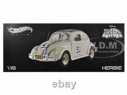 Elite 1963 Volkswagen Beetle The Love Bug Herbie #53 1/18 By Hotwheels Bcj94
