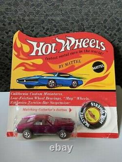 Hot Wheels 1969 Amx Magenta Redline With Unpunched Card, Very Nice Shape