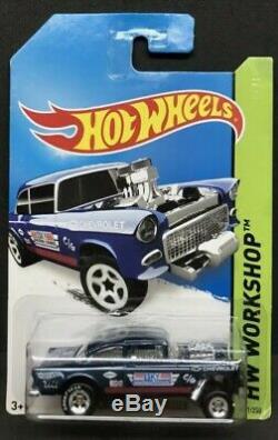 Hot Wheels 2014 Super Treasure Hunt 55 Chevy Bel Air Gasser Workshop 1/64