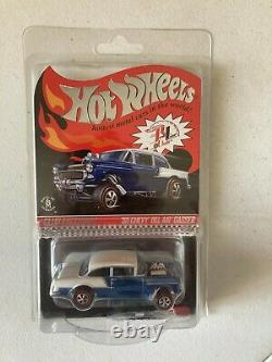 Hot Wheels'55 CHEVY BEL AIR GASSER RLC Exclusive Club Car, Blue/White withButton