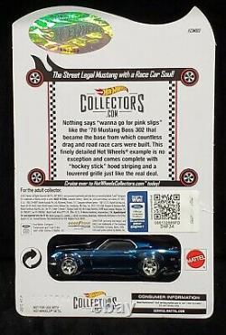 Hot Wheels 70 1970 Ford Mustang Boss 302 RLC Red Line Club Car 01170/07000 Blue