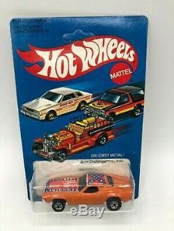 Hot Wheels Dixie Challenger Orange With Flag Unpunched VVHTF Hong Kong 1981
