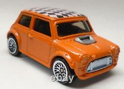 Hot Wheels Orange Mini Cooper with Checkerboard Roof from 2001 Power Launcher