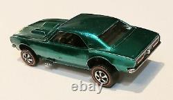 Hot Wheels REDLINE 1968 GREEN CUSTOM CAMARO! EXCELLENT PLUS CONDITION