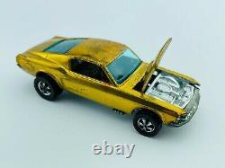 Hot Wheels Redline CUSTOM MUSTANG Gold HK OHS Brown Int EX/NM Open Hood Scoop