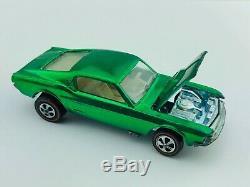 Hot Wheels Redline CUSTOM MUSTANG Green US White Interior EX/NM TOUGH Car