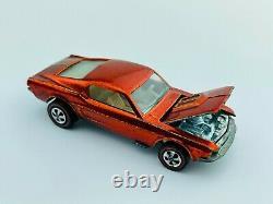Hot Wheels Redline CUSTOM MUSTANG Orange US White Int EX/NM TOUGH Car
