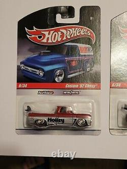 Hot Wheels Slick Rides Custom 62 Chevy 2009 Both Blue and Red trucks MOC