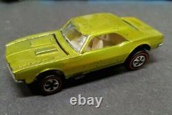 Hot Wheels Vintage Original Redline 1967 Custom Camaro U. S. Lime Unpainted Roof