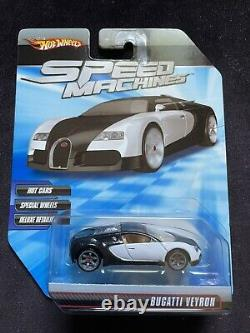 VHTF Hot Wheels 2009 SPEED MACHINES BUGATTI VEYRON (Wht. /Blk.) With Protector
