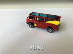 Vintage Redline Mattel Hot Wheels 69 HK Red VW Beach Bomb with dk int. With Button